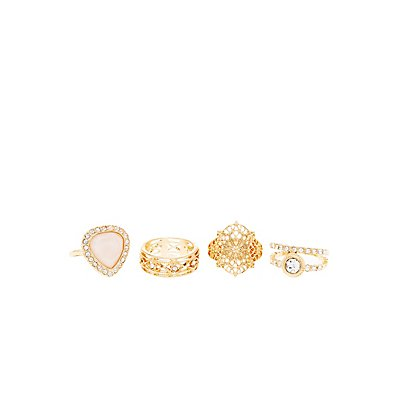 Rhinestone Filigree Statement Rings - 4 Pack