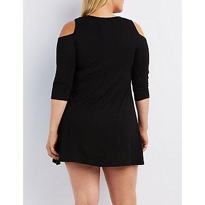 Plus Size Caged Cold Shoulder Shift Dress
