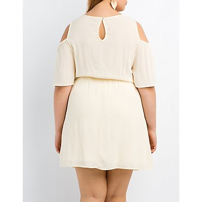 Plus Size Lace-Trim Cold Shoulder Dress