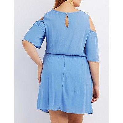 Plus Size Lace-Trim Cold Shoulder Dress
