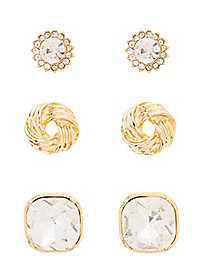 Faceted Rhinestone & Knot Stud Earrings - 3 Pack