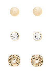 Round Mixed Stud Earrings - 3 Pack