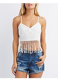 Fringed Floral Lace Crop Top