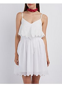 Scalloped Eyelet Ruffle Dress