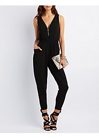 Sleeveless Zip-Up Jumpsuit