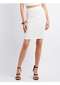 Textured Midi Pencil Skirt