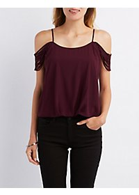 Strappy Sleeve Cold Shoulder Top