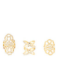 Embellished Filigree Rings - 3 Pack