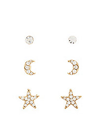 Rhinestone Mixed Stud Earrings - 3 Pack