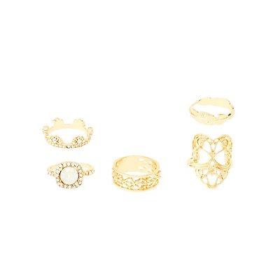 Embellished Filigree Rings - 5 Pack