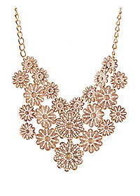 Flower Filigree Bib Necklace