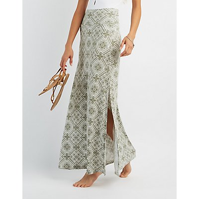 Printed Double Side Slit Maxi Skirt