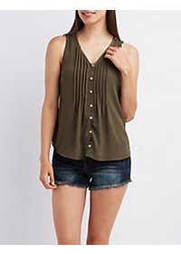 Pintuck Button-Up Tank