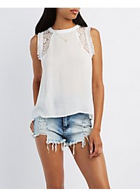Lace Yoke High Neck Tank