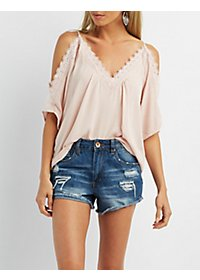 Crochet Trim Cold-Shoulder Peasant Top