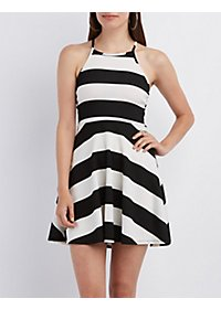 Striped Strappy Skater Dress