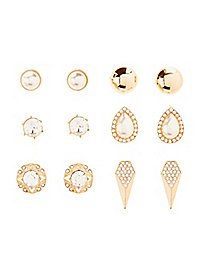 Gemstone, Dome, & Teardrop Stud Earrings - 6 Pack