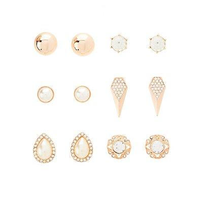 Gemstone, Dome, & Teardrop Stud Earrings - 6 Pack