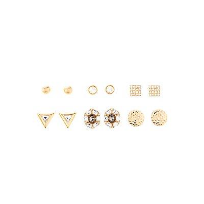 Triangle Gemstone, & Dome Earrings - 6 Pack