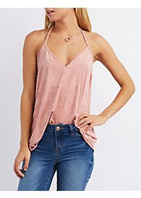 Faux Suede Strappy Tank Top