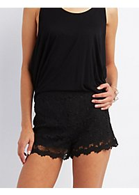 High-Rise Crochet Lace Shorts