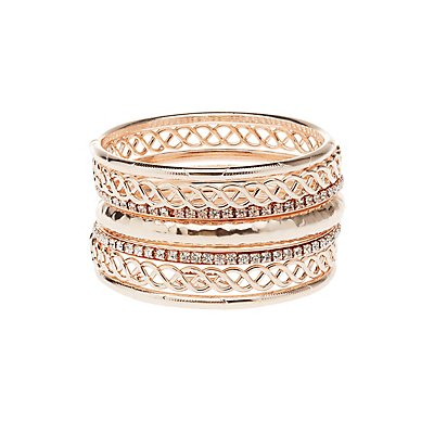 Rose Gold Rhinestone Bangle Bracelets - 7 Pack