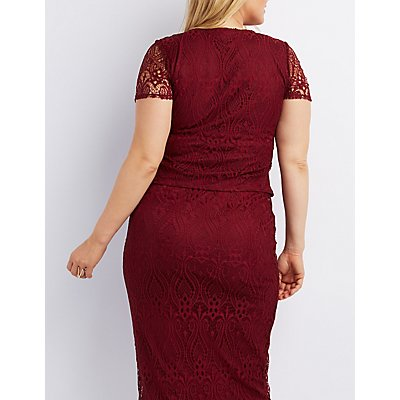 Plus Size Lace Wired Notch Top