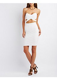 Cut-Out Strapless Bodycon Dress