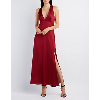 Asymmetrical Slit Plunging Maxi Dress