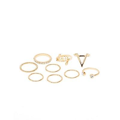 Embellished Slay Stackable Rings - 9 Pack
