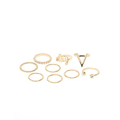 Embellished Slay Stackable Rings - 9 Pack