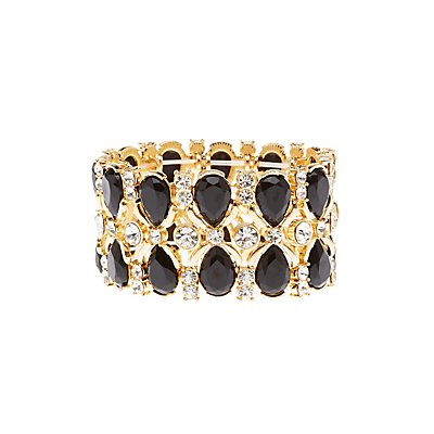 Gemstone Stretch Cuff Bracelet