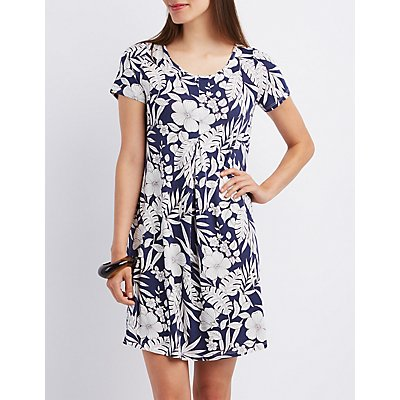 Floral Pleated Shift Dress
