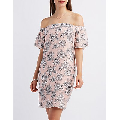 Off-the-Shoulder Floral Print Shift Dress
