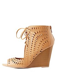 Lace-Up Laser Cut Wedge Sandals