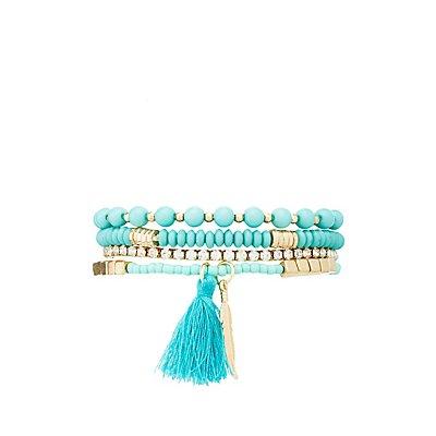 Beaded Stone Bracelets - 4 Pack