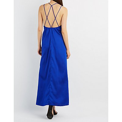 Strappy Satin Maxi Dress