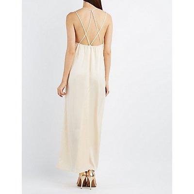 Strappy Satin Maxi Dress