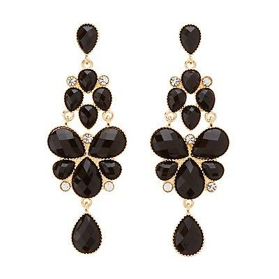 Faceted Stone Chandelier Earrings