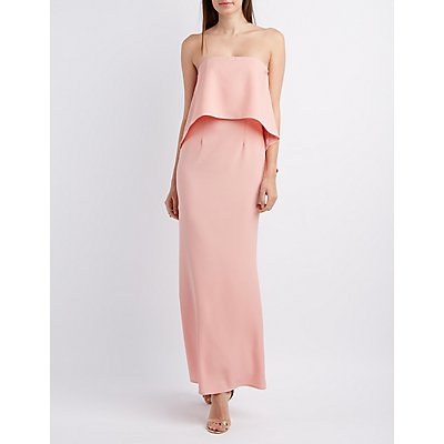 Strapless Flounce Maxi Dress