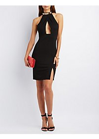 Metal Neck Bodycon Dress