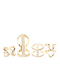 Stacked Rhinestone Rings - 4 Pack