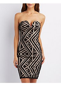 Plunging Geometric Burnout Strapless Dress