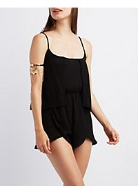 Crochet Trim Layered Romper