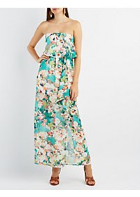 Printed Strapless Slit Maxi Dress