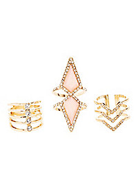 Stacked Rhinestone Rings - 3 Pack