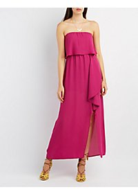 Strapless Slit Ruffle Maxi Dress