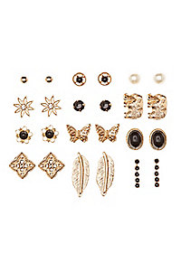 Earthy Mixed Stud Earrings - 12 Pack