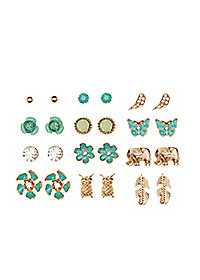 Earthy Stud Earrings - 12 Pack
