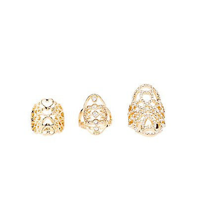 Rhinestone & Filigree Statement Rings - 3 Pack
